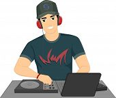 stock photo of disc jockey  - Illustration of a Male Disc Jockey Mixing Songs Using His Turntable - JPG