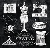picture of coil  - Sewing symbol in retro vintage in chalk lettering mannequin - JPG