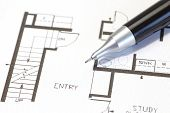 foto of mechanical drawing  - Architectural plan technical project drawing use for construction concept - JPG