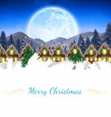 picture of quaint  - Christmas greeting card against quaint town with bright moon - JPG