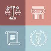 foto of lined-paper  - Vector set of juridical and legal logos and signs  - JPG