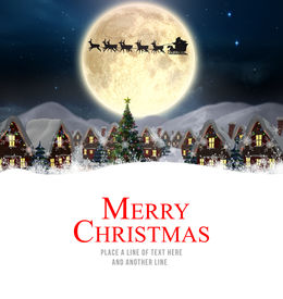 foto of moon silhouette  - Merry christmas against santa delivery presents to village - JPG