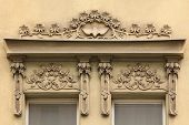 stock photo of building relief  - Floral ornamental decoration on the Art Nouveau building in Prague - JPG