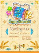 foto of punjabi  - illustration of Happy Baisakhi background - JPG