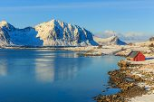 stock photo of lofoten  - Lofoten Islands in Arctic Circle are the most beautiful place in the Northern Norway - JPG