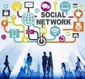 pic of social-security  - Social Network Internet Online Society Connecting Social Media Concept - JPG