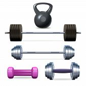picture of dumbbell  - Dumbbells barbells and weight fitness and bodybuilding equipment realistic icons set isolated vector illustration - JPG