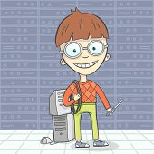 pic of geek  - Cartoon vector illustration of system administrator character or computer man - JPG