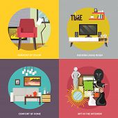 picture of tv sets  - Living room furniture design concept set with modern home interior elements isolated vector illustration - JPG