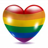 stock photo of gay symbol  - Heart shaped gay symbol on white background with shadow - JPG