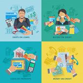 picture of social housing  - Credit life design concept set with debts on loans cashless payments flat icons isolated vector illustration - JPG