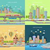 pic of suburban city  - City transport design concept set with urban and suburban house buildings flat icons isolated vector illustration - JPG