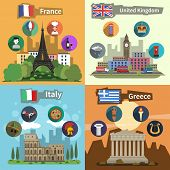 image of bobbies  - Historical landmarks sightseeing tours to greece france england and italy flat icons composition poster abstract vector illustration - JPG