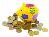 stock photo of depreciation  - A piggy bank or a money box with euro coins over white - JPG