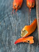 picture of carapace  - Close up of lobster carapace on a wooden table