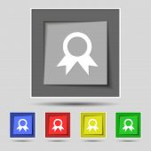 stock photo of prize winner  - Award Prize for winner icon sign on the original five colored buttons - JPG
