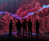 stock photo of siluet  - An abstract Forex graph room in red with people siluet - JPG