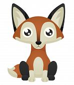 image of neutral  - Illustration of a cute cartoon fox sitting with a neutral expression - JPG