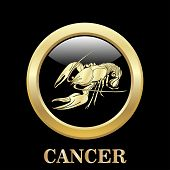 stock photo of cancer horoscope icon  - Cancer zodiac sign in oval frame vector Illustration - JPG