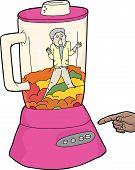 picture of blender  - Screaming man and chopped food inside blender - JPG