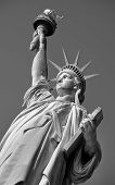 stock photo of statue liberty  - Statue of Liberty on Hudson River in NYC in black and white - JPG