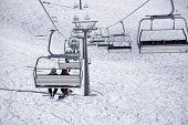 stock photo of sochi  - Chairlift in a ski resort Krasnaya Polyana - JPG