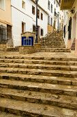 stock photo of costa blanca  - Narrow old town streets of a Costa Blanca village - JPG