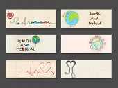 stock photo of biomedical  - Website header or banner set with heart - JPG