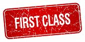 picture of first class  - first class red square grunge textured isolated stamp - JPG