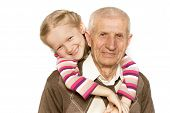 image of granddaughter  - portrait of a granddaughter and grandfather close - JPG