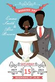 stock photo of mulatto  - Wedding invitation with Cartoon mulatto couple bride and groom with Swirl elements - JPG