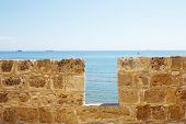 pic of larnaca  - Limestone fort wall close - JPG