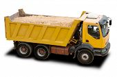 stock photo of dump_truck  - A Big Yellow Dump Truck Isolated on White - JPG