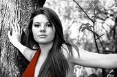 picture of pouty lips  - abstract selective color portrait of sultry woman in red dress - JPG