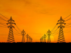 foto of electricity pylon  - High voltage electricity pylon over sunset 3d - JPG