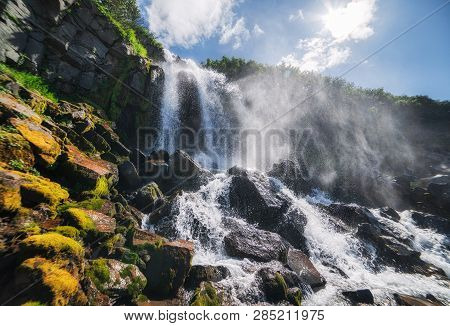 Waterfall In Kamchatka The Nature