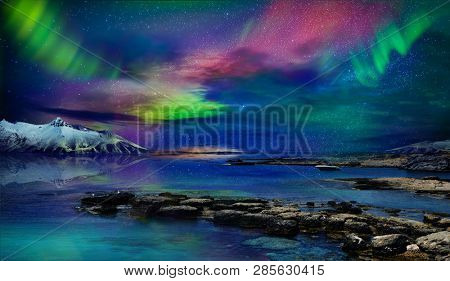 Beautiful northern lights of the