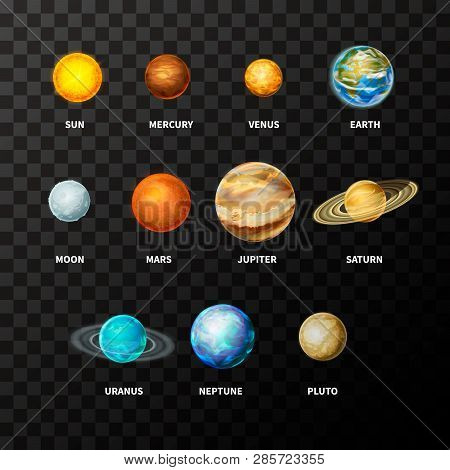 Set Of Bright Realistic Planets