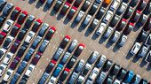 New Car Lined Up In The Port For Business Car Import And Export Logistic, Aerial View. poster