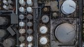 Storage Of Liquid Petrochemical Product Tank, Aerial View, Liquid Chemical And Petrochemical Product poster