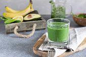 Spring Detox, Vegetarian Breakfast, Healthy Lifestyle - Green Superfood Spirulina Antioxidant Smooth poster