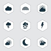 Climate Icons Set With Sunlight, Partly Cloudy, Thundershower And Other Voltage Elements. Isolated   poster