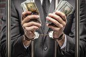 Corrupt Man Holding Bills Of Money poster