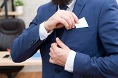 Business Card. Businessman Put Card In Business Suit. Man. Modern Businessman. Male Fashion. Man Wit poster