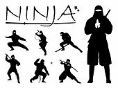 Set Of Ninja Silhouette Vector Illustration, Ninja Weapon Silhouette. Ninja Japanese Warrior Silhoue poster