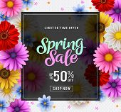 Spring Sale Vector Banner Template With Colorful Chrysanthemum And Zinnia Flowers Elements In The Ba poster