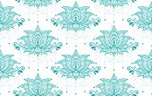 Indian Lotus Flower Vector Seamless Pattern, Mehndi Henna Tattoo Style, Yoga Or Zen Decoration, Bohe poster