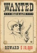 Wanted Poster.vector Western Illustration With Bandit Man In Mask And Gun poster