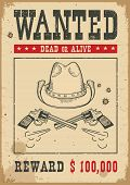 Wanted Poster.vector Western Illustration With Guns And Cowboy Hat poster