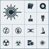 Protection Icons Set With Caution, Hand Protection, High Voltage Laser Beam Elements. Isolated  Illu poster
